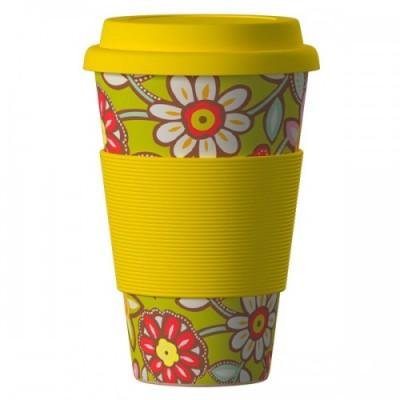 Еко чаша от бамбук жълти Маргарити 400 мл