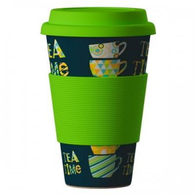 Еко чаша от бамбук Време за чай 400 мл